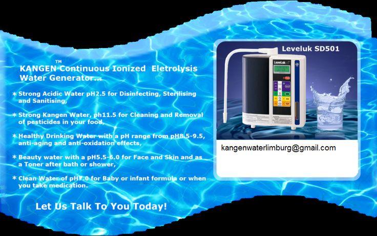 Kangen Water(alkalisch geïoniseerd water) zorgt ervoor dat uw lichaam in staat is alle schadelijke stoffen af te voeren en meer energie uit uw voeding te halen. Wanneer u Kangen Water drinkt, kunt u energieker zijn, er beter uitzien en in betere gezondheid ouder worden. De heilzame werking van gletsjer- en bronwater is al jaren algemeen bekend. Met een in Japan als medisch erkende Kangen Water Machine, heeft u levenslang uw eigen gletsjerwater uit de kraan. Kangen Water.