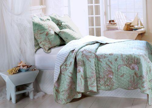 ocean bedding for adults ocean seashell beach bedding twin full queen king bedspread quilt. Black Bedroom Furniture Sets. Home Design Ideas