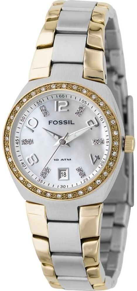 #Fossil #Watch , Fossil Women's AM4183 Two-Tone Quartz Mother-of-Pearl Dial Watch