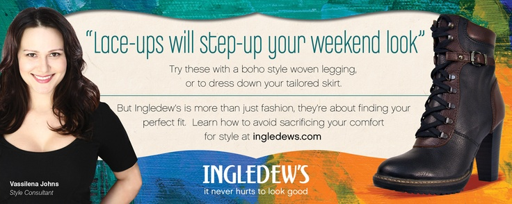 """""""Lace-ups will step-up your weekend look"""".    But Ingledew's is more than just fashion, they're about finding your perfect fit - find out how at http://www.ingledews.com/artoffit.html"""