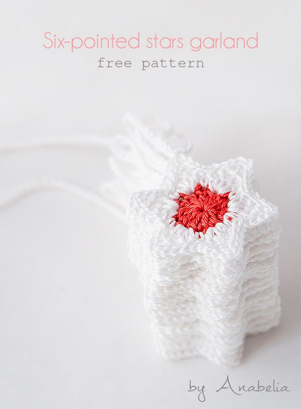 DIY: How to make a crochet stars Christmas garland, thanks so for sharing xox ☆ ★ https://www.pinterest.com/peacefuldoves/