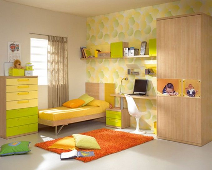 Cute Toddler Room Decorating Ideas For Your Inspirations : Appealing Toddler Room Decorating Idea With Yellow And Lime Green Dresser Also Yellow Single Bed Also Small Study Desk And Orange Rug Also Ceiling Height Cupboard Also Unique Wallpaper Along With White Wall