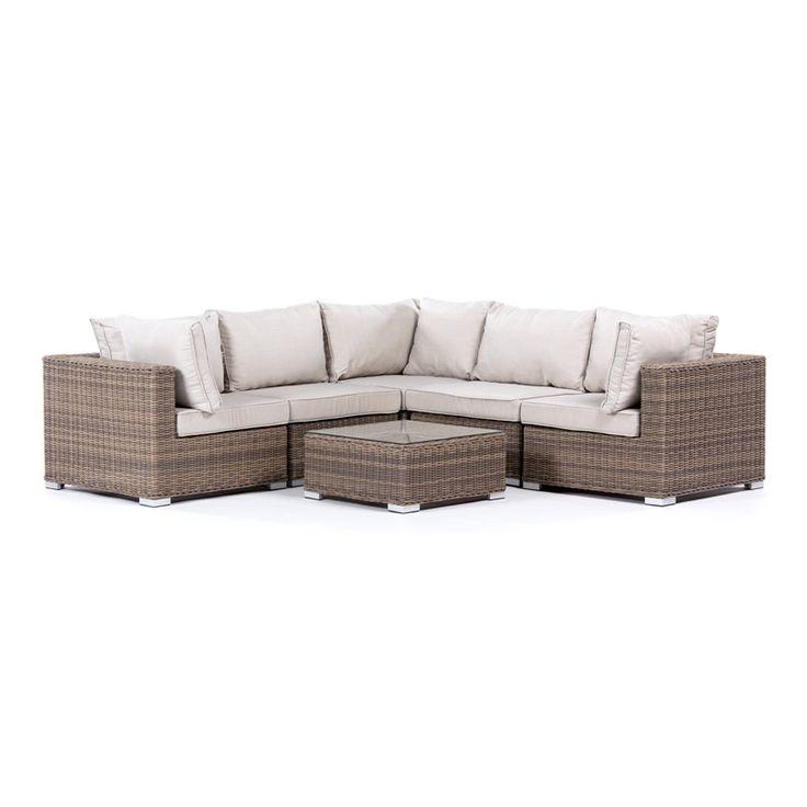 Somrig loungemöbel med gott om plats! Stor och bekväm hörnsoffa från Sunfun i underhållsfria och hållbara material. Möbeln passar utmärkt i trädgården, på