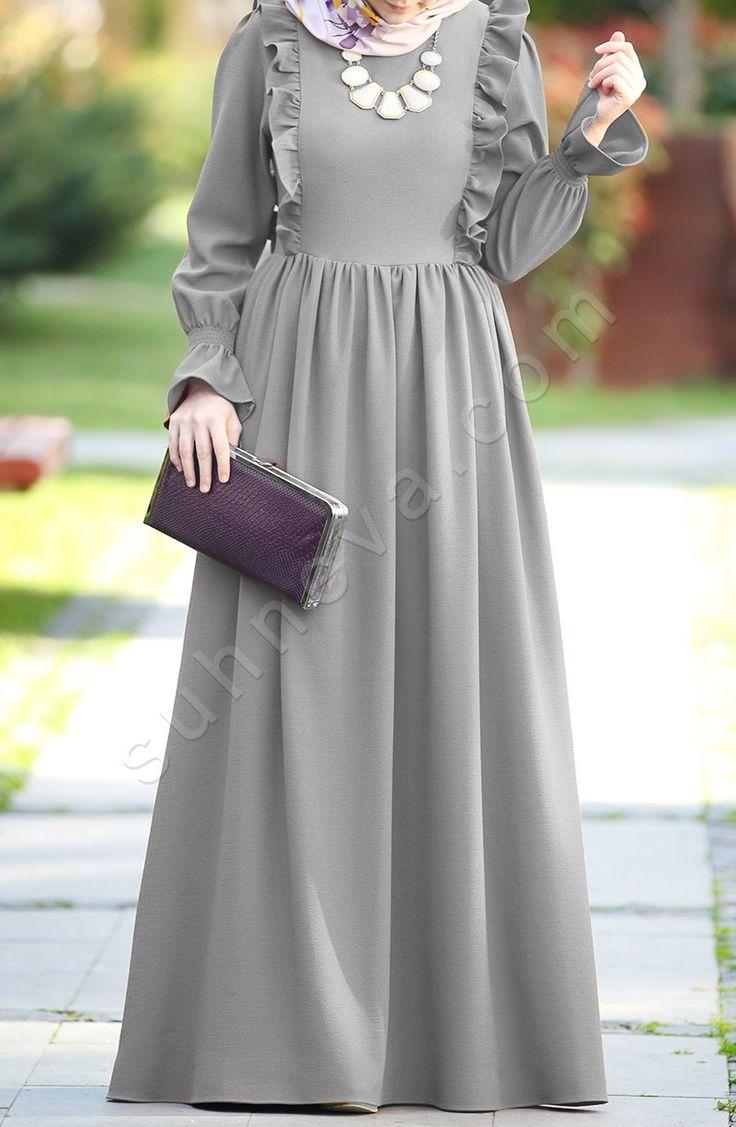 Fırfırlı Narin Elbise - Açık Gri