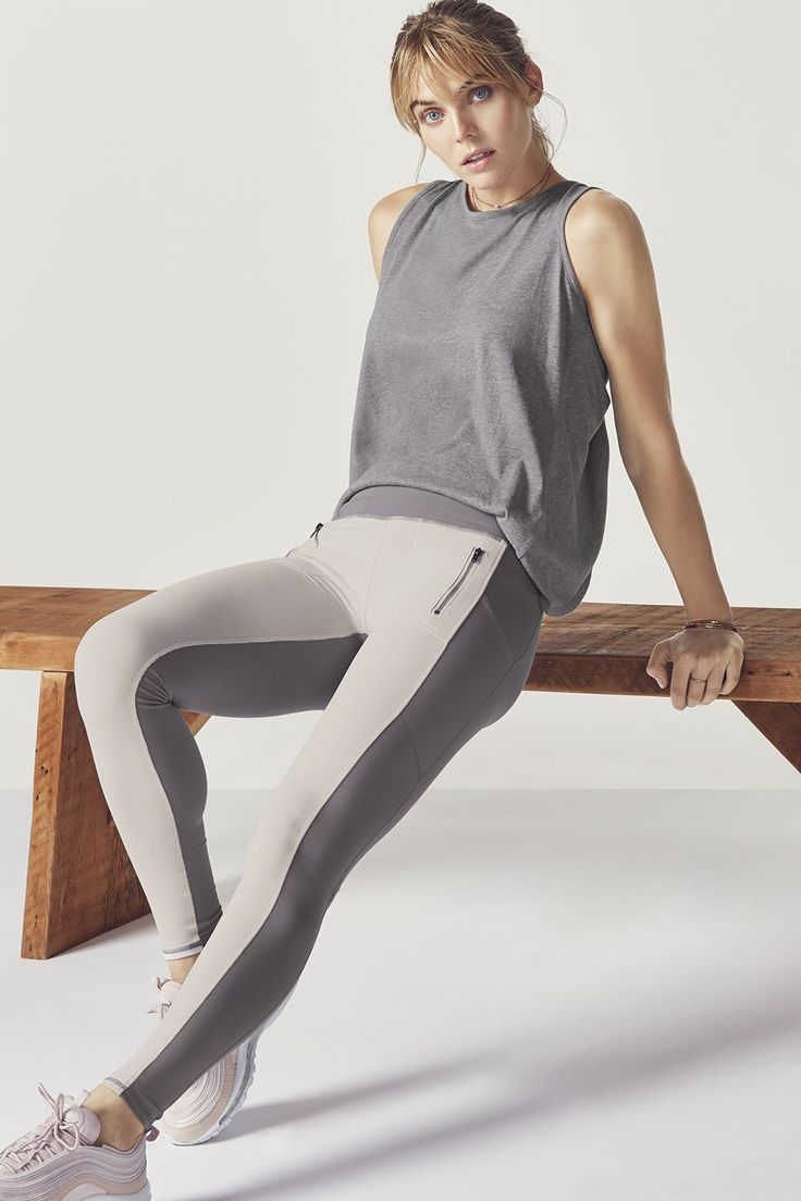 Make the switch from office to gym to out at night in an open-back fitness tank and moisture-wicking treggings (leggings meet trousers). | Fabletics Jae Outfit