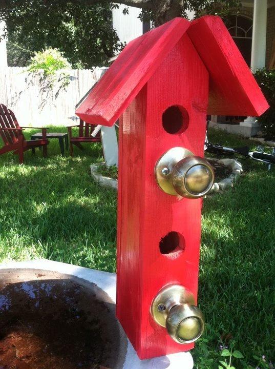 Double Red Door Knob Bird House Bird House Ideas
