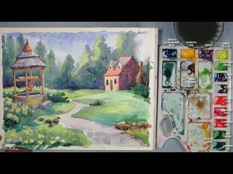 How to Draw a House Landscape in Watercolor | Episode-2 - YouTube