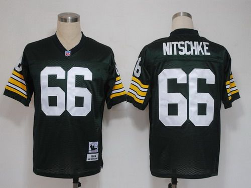e13158a6 ... Green Bay Packers 66 Ray Nitschke Green Short-Sleeved Throwback Jersey  ...