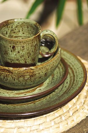 stoneware dinnerware sets ebay blue green with serving pieces