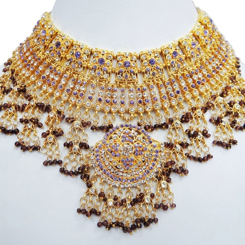 Traditional Light Purple CZ Kundan Bridal Necklace Set Indian Wedding Jewelry - know about indian culture and visit india with us get best and cheap tour deal