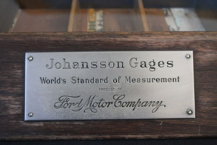 Antique Johansson Gages - Ford Motor Company - Glass Fronted Wooden Display Case