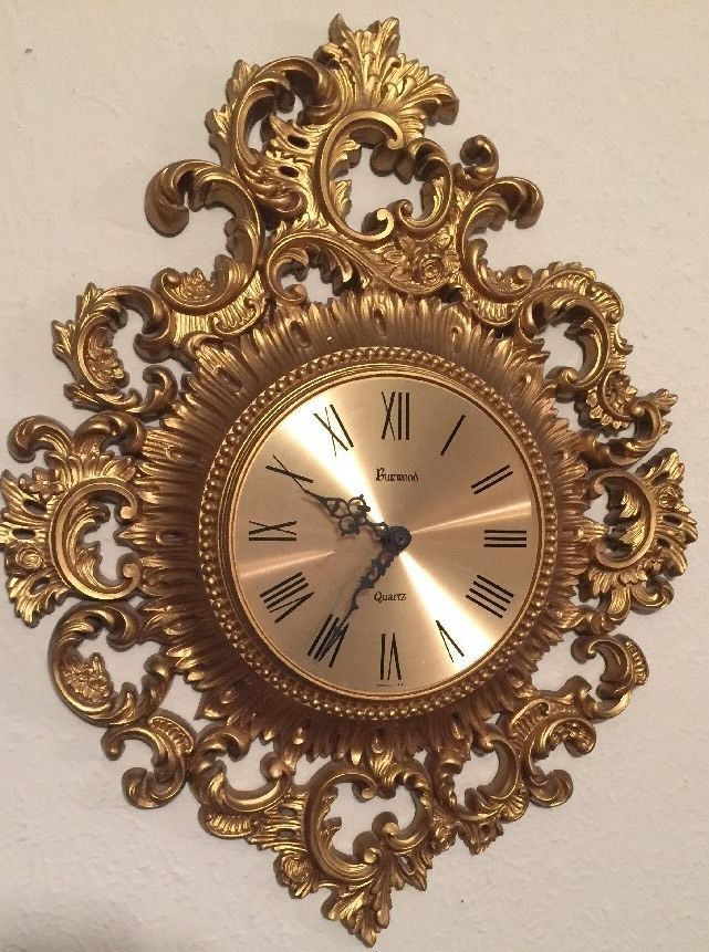 Vintage Clock Gold Ornate Burwood Home Interiors Homco 1965 GC SCROLLY Elegant