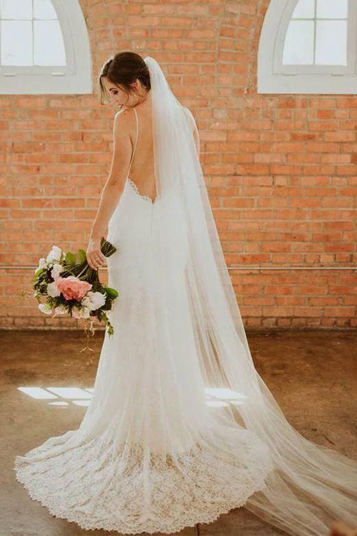 Bohemian Spaghetti Straps Sweetheart Mermaid Lace Backless Wedding Dresses on sale – SmilePromDress #backlessweddingdres…
