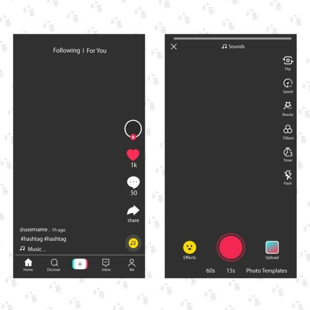 Tik Tok Screen Interface In Social Media App Tiktok And Video Icons App Audio Application Tiktok Png And Vector With Transparent Background For Free Downloa App Interface Medium App Frame Template