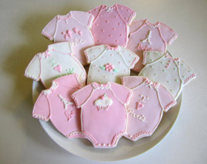 Baby Shower Favors, Baby Girl Favors, Baby Girl Cookies, Paris Baby Shower, Onesie, Baby Shower, Baby, Favors, Pink, Baby Girl, Paris