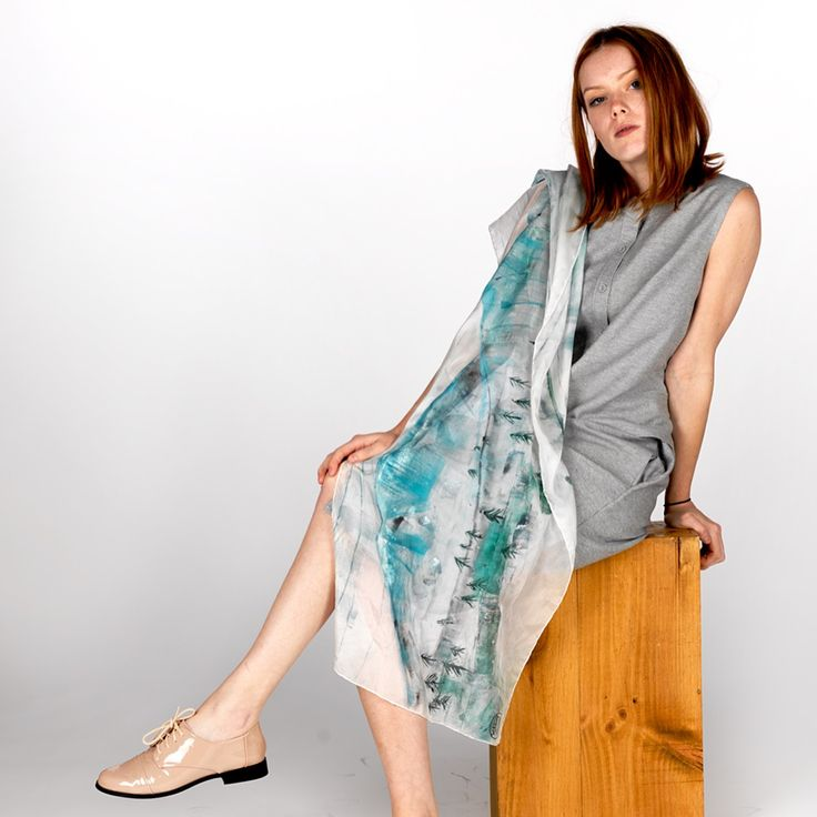 Daubs& Dashes: Tunga, Hand painted silk scarf, Iceland Collection