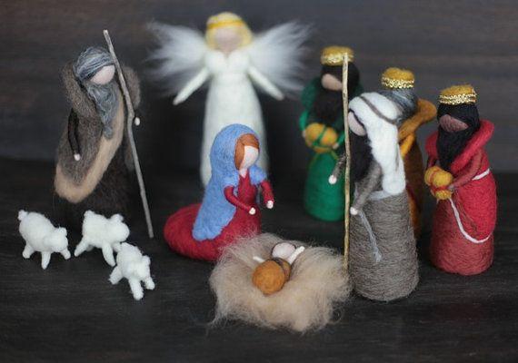 READY TO SHIP Needle Felted Nativity set Holy by FeltandGrain