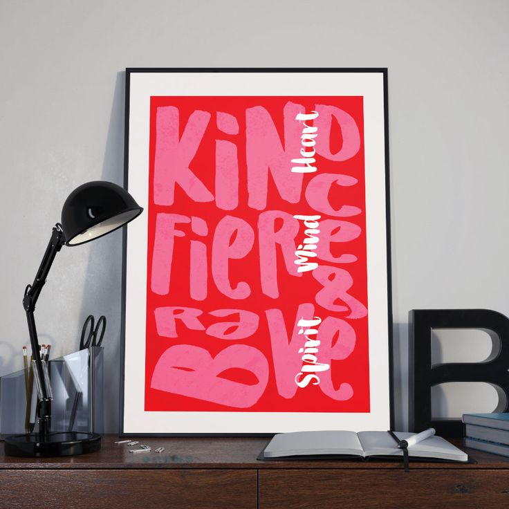 Kind Heart - Fierce Mind - Brace Spirit. Download poster door artidentity op Etsy