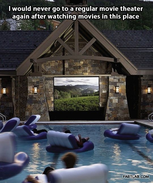 outdoor movie in the pool