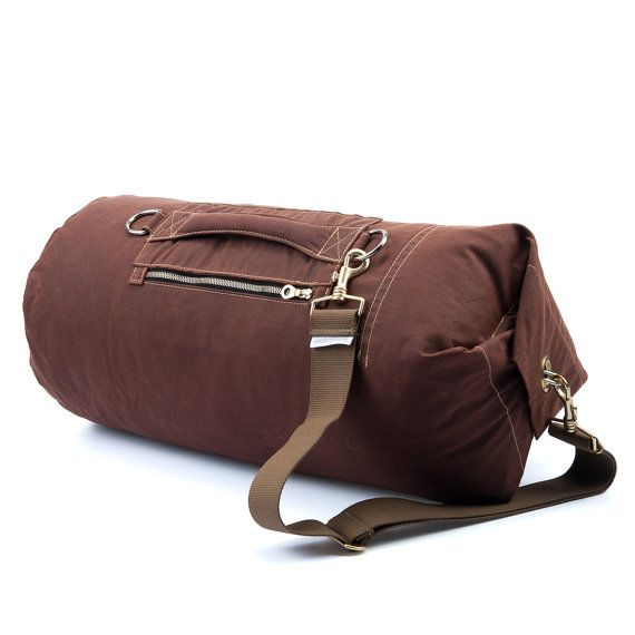 Waxed Canvas Large Bronze : Carry on Hand Luggage, Sport Bag, Kit Bag, Sailor Bag