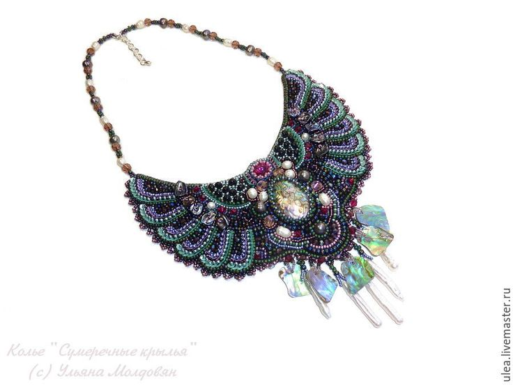 "Buy Necklace with pearls ""Twilight wings"" on Livemaster online shop"