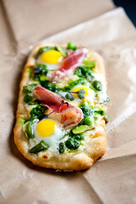 Spring Pizza with egg, prosciutto, asparagus, and cheese.