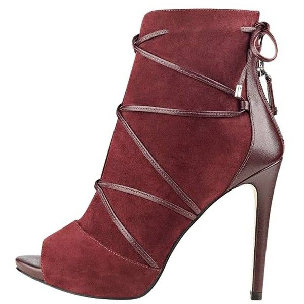 FSJ Women Peep Toe Ankle Booties Platform Stiletto Heels Lace Up... ($30) ❤ liked on Polyvore featuring shoes, boots, ankle booties, wide width booties, laced up boots, cut out booties, lace up platform booties and peep toe booties