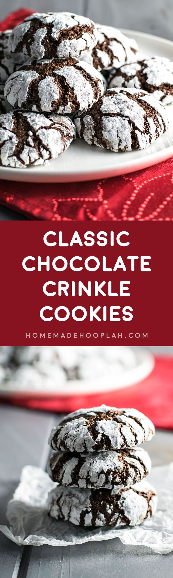 Classic Chocolate Crinkle Cookies! Light, flavorful, and crumbly chocolate crinkle cookies - they're the perfect combination of a brownie and a cookie!