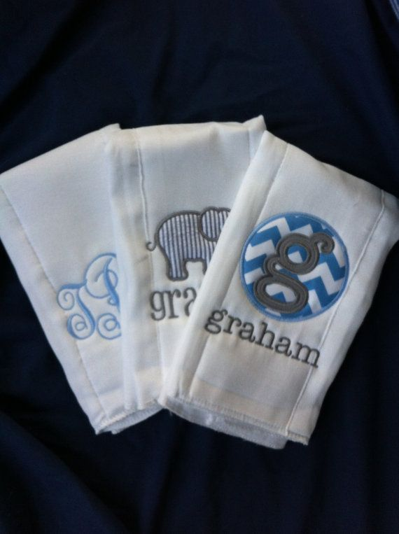 Set of 3 Personalized Burp Cloths - Diaper Cloths - Baby Boy - Monogrammed - Gift Set - Chevron