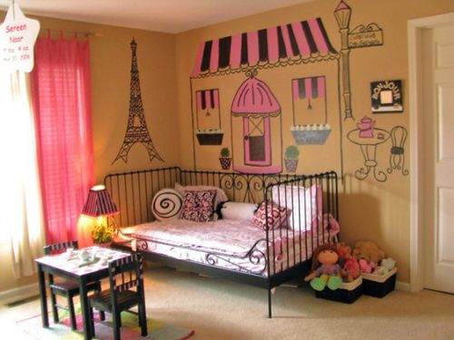 """cute cute Paris Decor. Bailey has this bed and the table and chairs(different color). Would be cool to paint them once she's a bit older and has outgrow the """"little kids"""" stuff."""