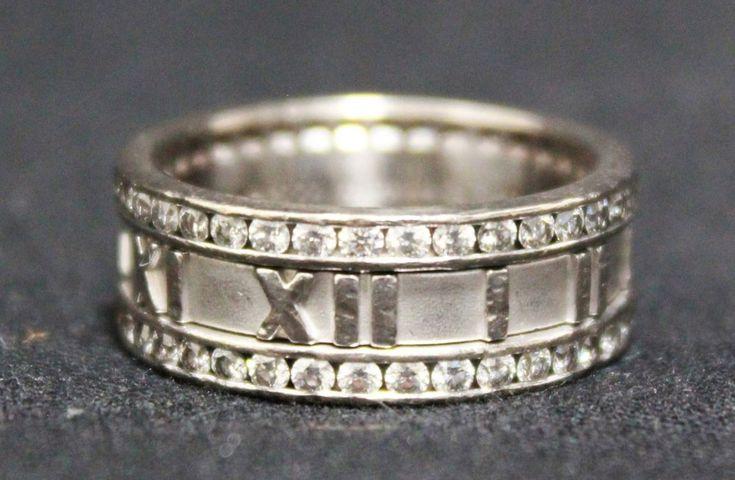 Tiffany Atlas Roman Numeral 18K White Gold Eternity Diamond Ring Band Size 9.75 #Tiffany #Band #atlas #gold #diamond #ring #eternity