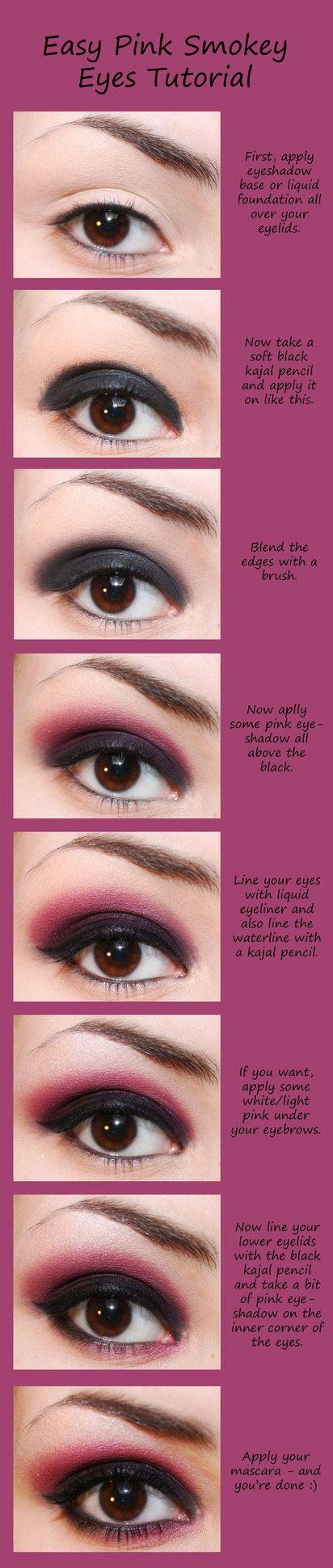 Easy Pink Smokey Eyes Tutorial by *hedwyg23 on deviantART