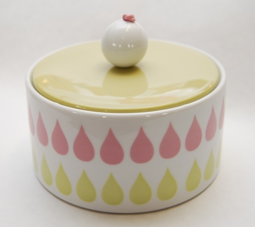 LIEBE Perlekrukke - gul/rosa dråpemønster