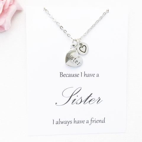 Sister necklace, sis necklace, Sister gift, Gift to sister, Sister pendant, sister jewellery, sister jewelry, gift for friend,SPBIHSMCN2 , Jewelry - Statement Made Jewelry, Statement Made Jewellery   - 3