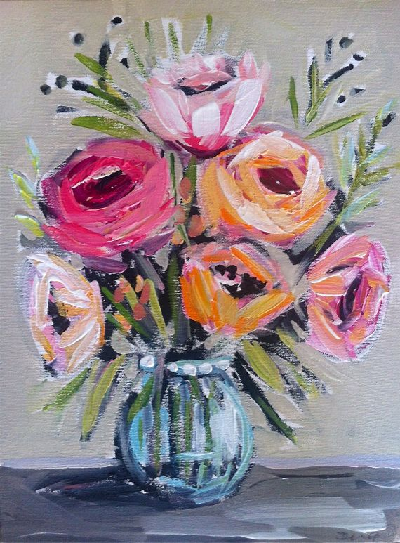 564 best images about blooms on pinterest for Painting large flowers in acrylic