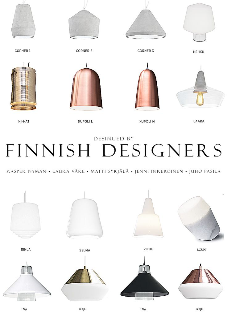 Finnish design lamps in Concrete, glass, metal. porcelain,