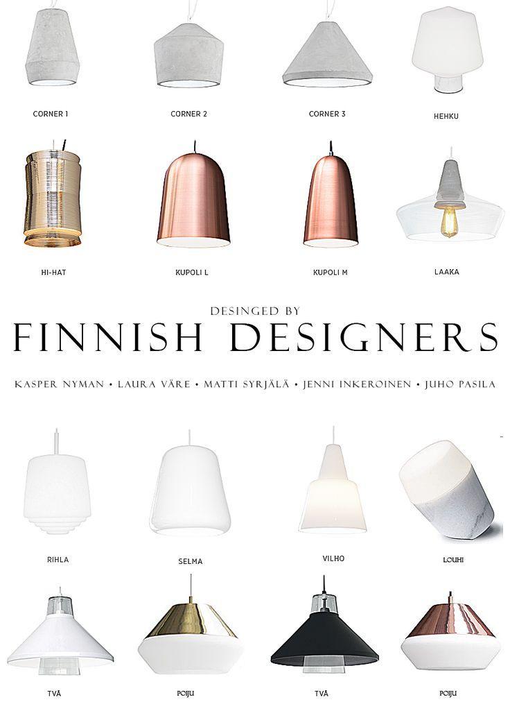 Finnish design lamps in Concrete, glass, metal. porcelain,