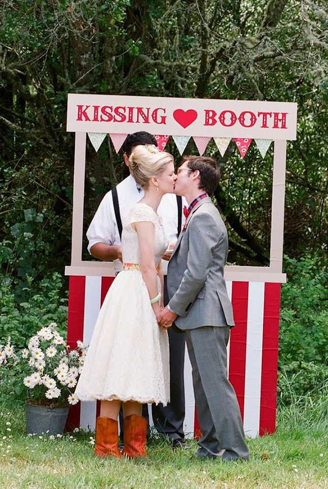 The kissing booth idea, the food truck (if you max it to $8/person you are looking for catering under $1,000 for 120 guests!). Just had an idea - do a cookie exchange for the favors! Or a pie or any dessert. Or a 'bake sale' table!