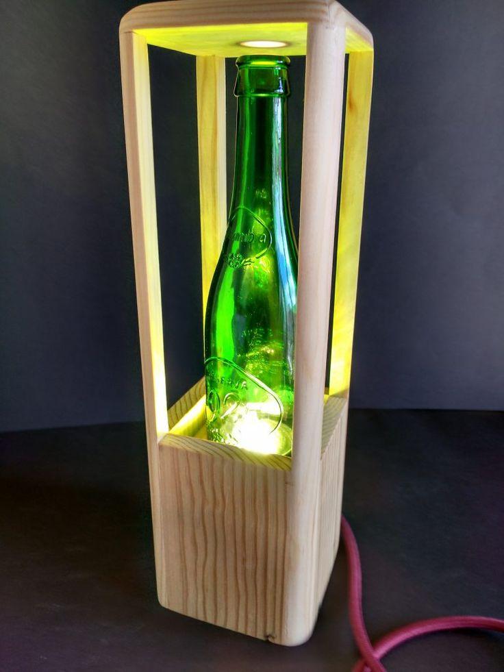 L mparas de mesa recicladas con madera de palet s per - Lamparas con palets ...