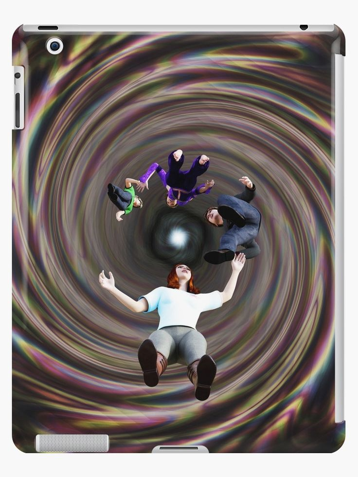 Through the Wormhole Toward the Light iPad Cases & Skins by Terrella.  A question mark formation of people traveling through a rainbow colored wormhole tunnel toward the bright light at the end. • Also buy this artwork on phone cases, apparel, home decor, and more.