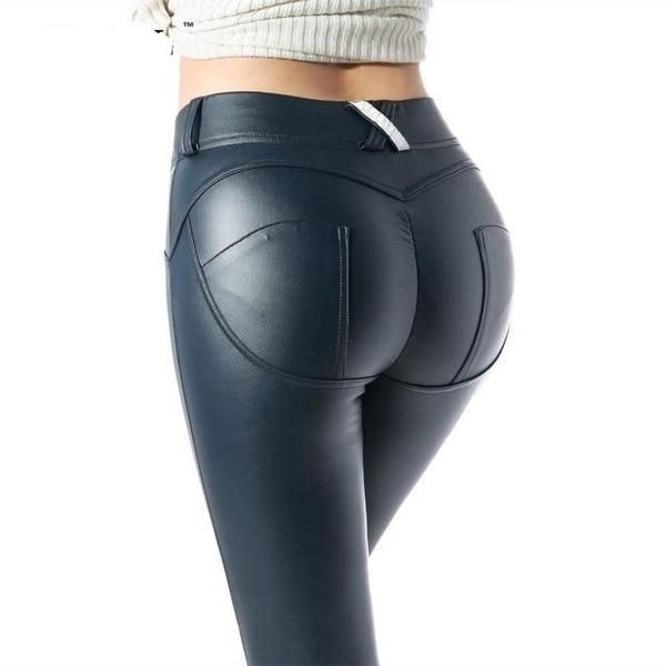 Women Faux Leather Leggings Pants PU Hip Push Up Stretchy High Waisted