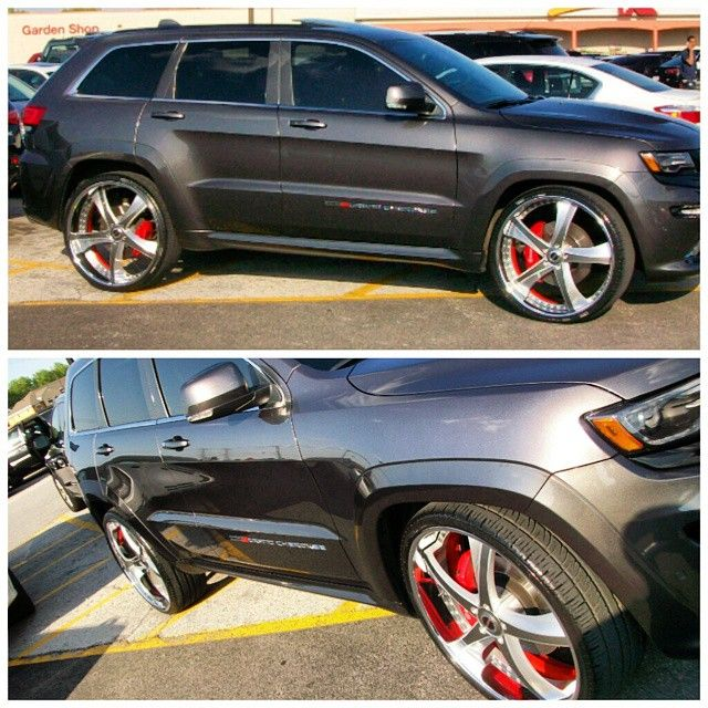 2014 Jeep Grand Cherokee SRT8 grey brushed wheels red inner barrel step lip