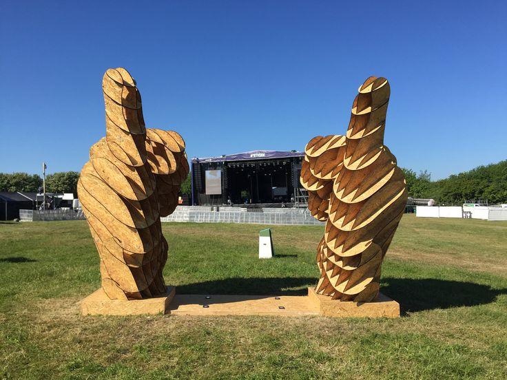 "NorthSide 2015, Aarhus, Denmark - ""Thumbs Up"" wooden art installation designed by Vilius Vizgaudis and Andreas Angelo Thiis"