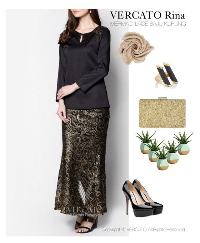 """VERCATO Rina Baju Kurung Moden"" in gold and also available in silver. SHOP NOW: http://www.vercato.com/baju-kurung-moden-lace-skirt-vercato-rina-gold"
