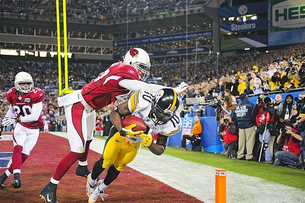 Santonio Holmes, Pittsburgh Steelers vs. Arizona Cardinals, Super Bowl XLIII, 2009 (© Al Tielemans/Sports Illustrated/Getty Images)