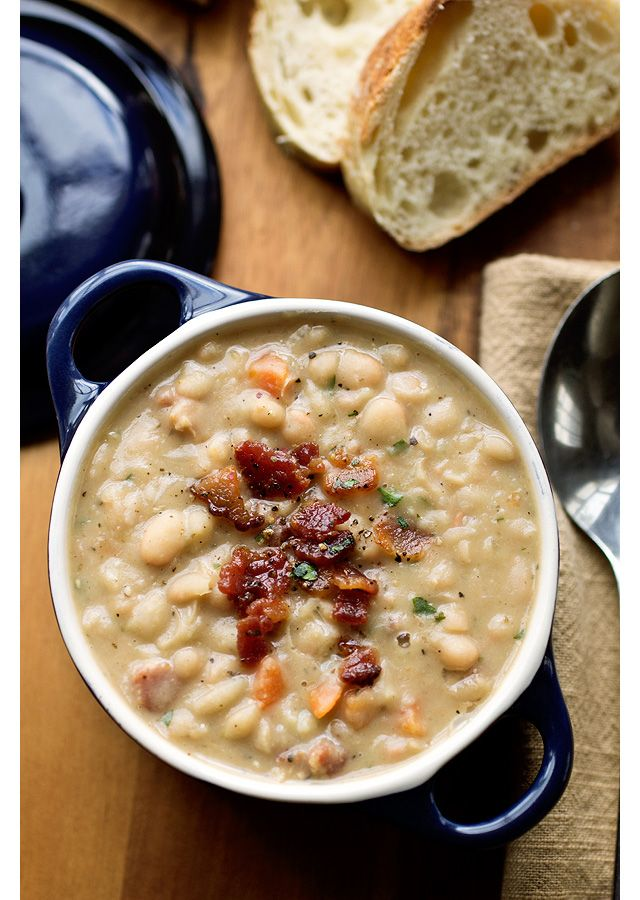 White bean stew with bacon.