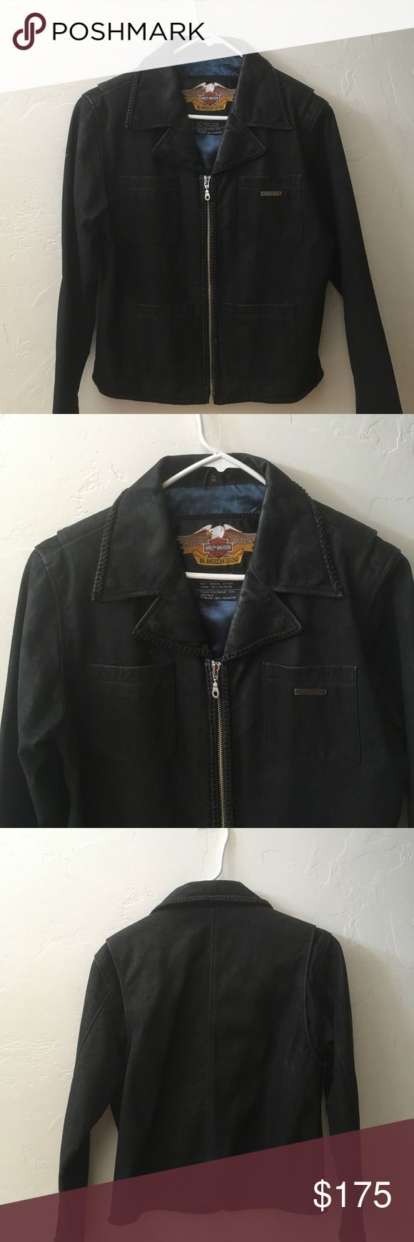 Harley Davidson Leather Jacket (Large) Harley Davidson Lightweight Leather Jacket (Size Large). Flattering Slim Fit, Zip-Up Front. Blue Satin Lining. Two Hidden Zippers Inside. Dry Clean Only. *Excellent Condition!! Harley-Davidson Jackets & Coats