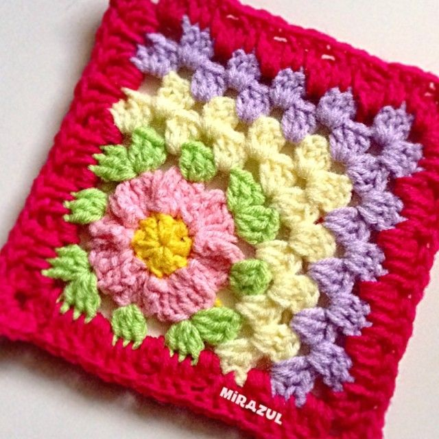 "487 Likes, 40 Comments - Mira (@mirazul) on Instagram: ""lacked of sleep makes me cranky..so made this to cheer me up   #crochet #grannysquare…"""