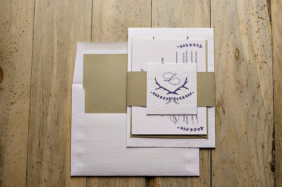 Wood Grain Rustic Letterpress Invitation Suite - Purple & White Wood Grain, Calligraphy Letterpress Invitation Suite, rustic wedding, vintage wedding, gold metallic, gold and white twine, laurel wedding invitations, antler wedding invitation, feather, barn wedding