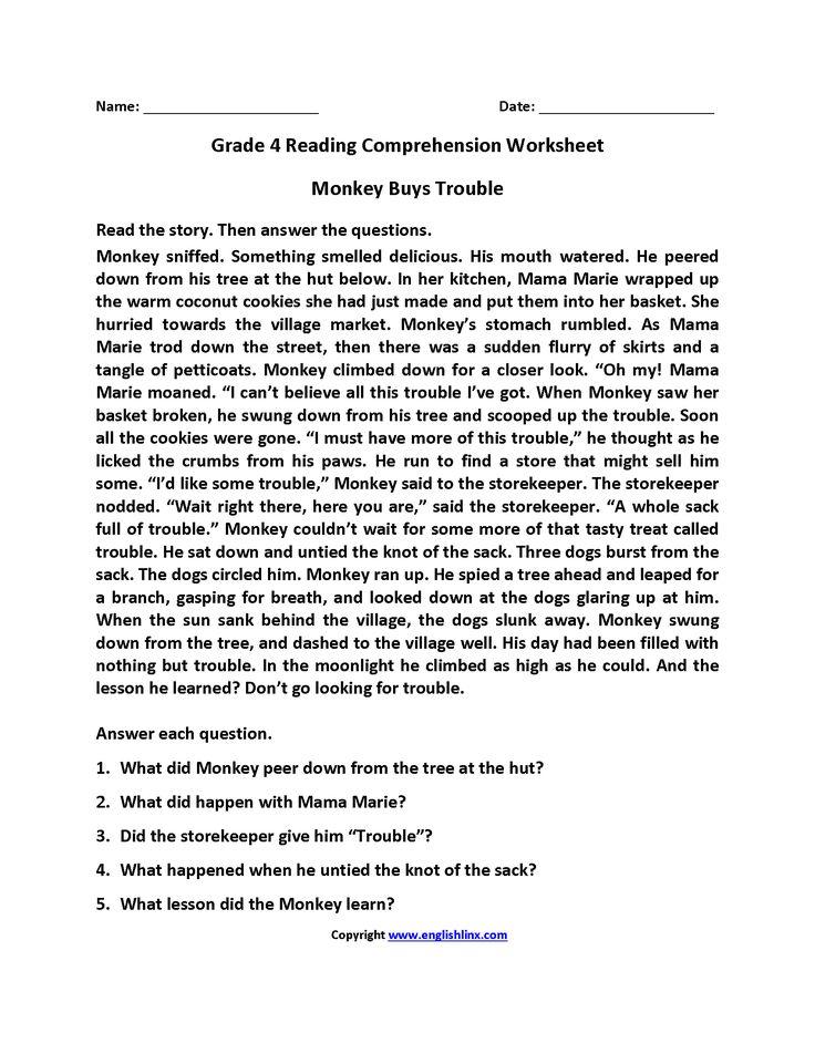 Monkey Buys Trouble Fourth Grade Reading Worksheets